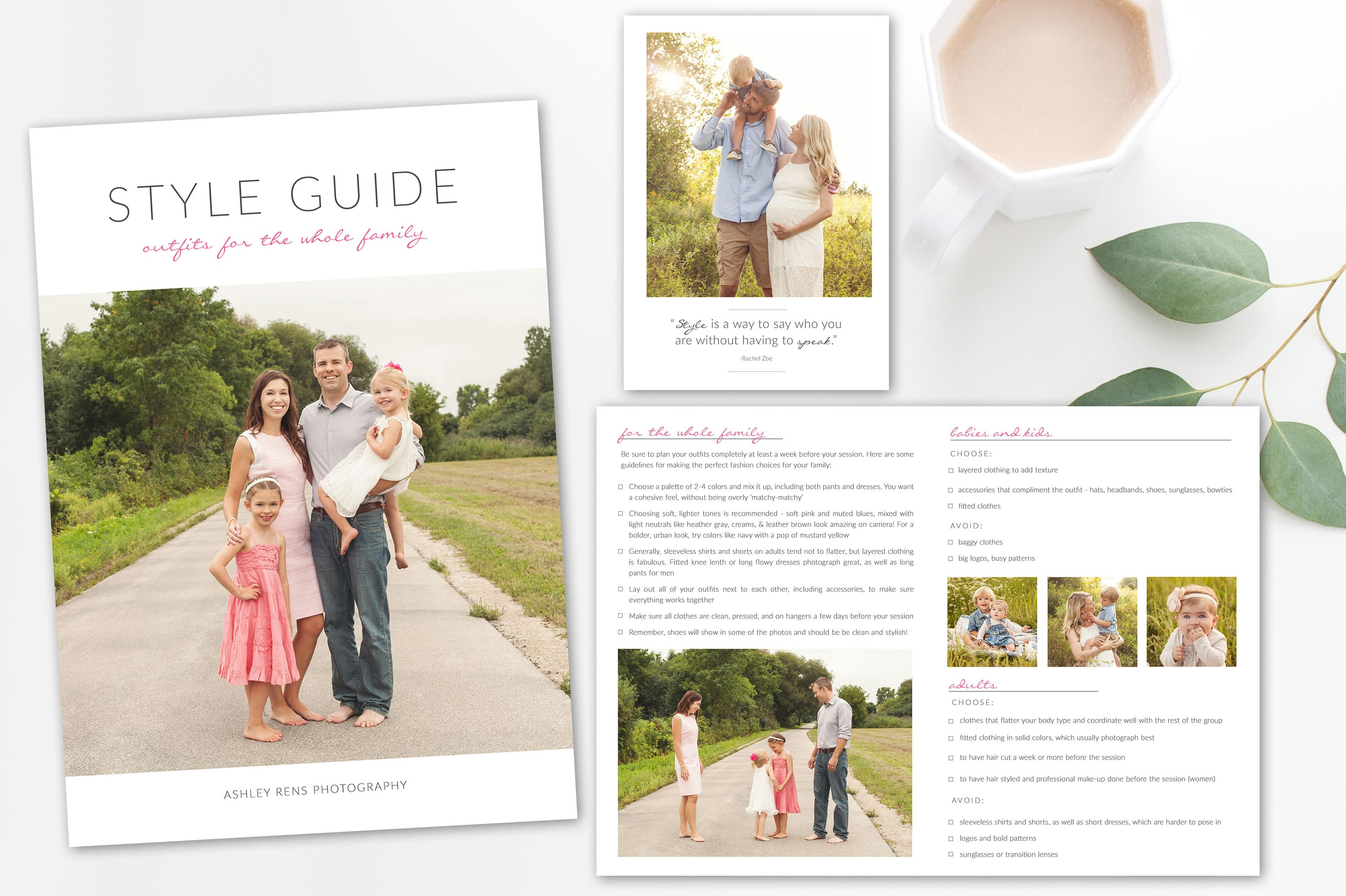 What to Wear Style Guide for Family Photography. 5x7 Folded