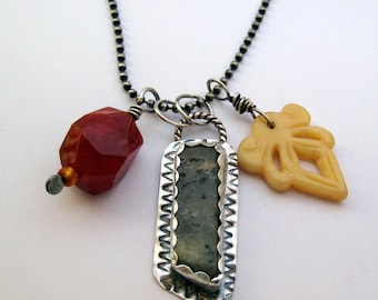 Sterling Charm Necklace Shield with Prehenite Bezel Set Tablet, Bone Carving and  a Chunk of Cut Carnelian,   Sterling Silver Bead Chain
