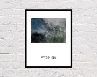 Wyoming Map Art Print, Wyoming Art Print, Wyoming Decor, Wyoming Printable, Watercolor Map, Office Poster, Office Decor, Digital Download