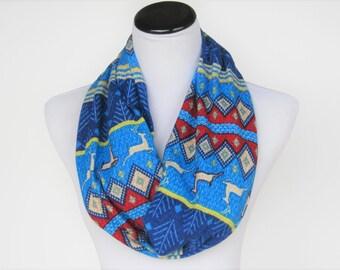 Christmas scarf reindeer infinity scarf Scandinavian fair isle cute Nordic scarf blue red scarf - ugly sweater scarf - gift women