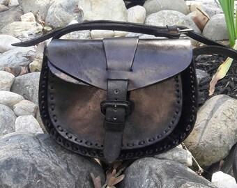 Black Leather Shoulder Handbag