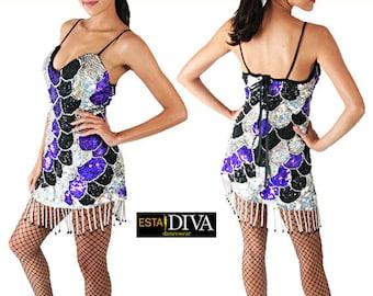 Sequin Dress - Destella  - Diva Dress, Sequin Dance Dress,  Cabaret Dress, Sequin Dress, Show Dress, Paillettenkleid, Robe Danse