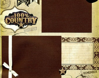 100 % country - Page Scrapbook Western Premade 12 x 12
