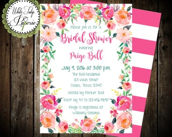 Floral Bridal Shower Invitation, Bridal Shower Invitation, Wedding Shower Invitation, Flower Bridal Shower Invitation