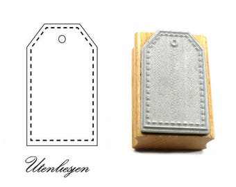 Stamp gift tag, tag, rubber stamp, 40 mm