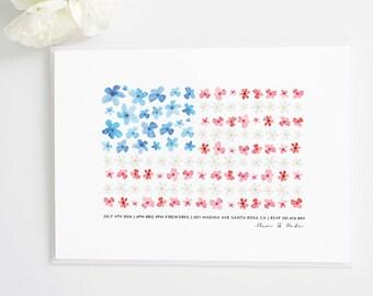Watercolor American Flag 4th of July Party Invite | BBQ invitation
