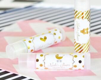 Baby Shower Tea Party Favors - Princess Kids Tea Party Favors - Personalized Baby Shower Ideas - Baby Favor Lip Balm  (EB3031FB) set of 16|