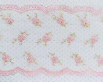 155mm Kawaii Pastel Pink Rose Flower Hime Tulle Lace Embroidered Ribbon Sewing Decoden Bow Supplies - 1 yard