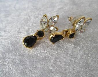 Earrings/Vintage gold drop dangle earrings white and black rhinestones