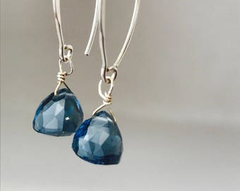 London Blue Topaz Earrings AAA Quartz Earrings Gemstone earrings Blue Topaz December Birthstone  Bridsmaids Earrings London Blue Earrings