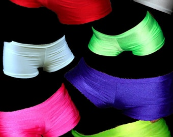 Neon lycra costume hotpants shorts bright punk goth cyber rave wear club wear plur lots of colours