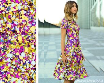 Bridesmaid Dress, Colorful Dress, Abstract Dress, Printed Dress, Dress For Women, Bohemian Clothing, Elegant Dress, Short Sleeved Dress