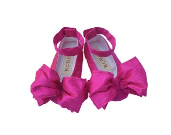 Baby Girl Shoes,Newborn Shoes, Pink Ankle Strap With Large Bow,Handmade by Bobka Baby