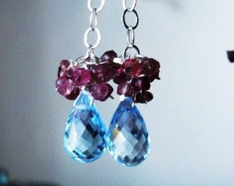 Blue Topaz and Pink Tourmaline Earrings