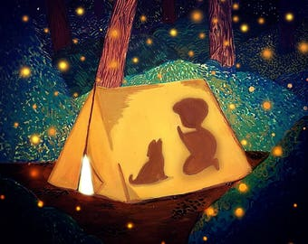Imagination is Everything, A4 Print, Reading Child in Tent With Dog
