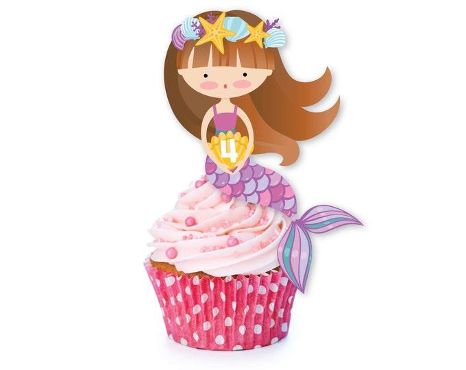 Mermaid / Unicorn cupcake toppers  - Customized Printable DIY, Girl's Mermaid Unicorn Birthday - Cupcake Toppers