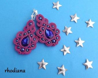 Fuchsia & Navy Soutache Earrings