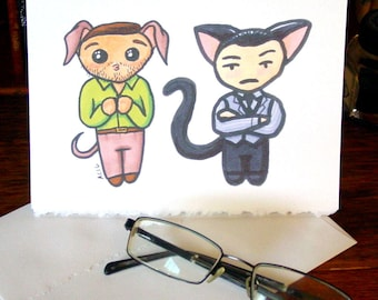 Inception Greeting Card - Chibi Catboy Arthur and Puppy Eames