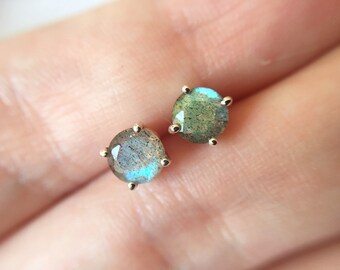 5mm Round Faceted Labradorite Stud Earrings in sterling silver or 14k gold - yellow gold - rose gold - white gold - labradorite earrings