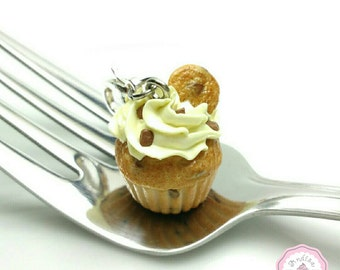 Chocolate Chip Cookie Cupcake Charm, Cupcake Necklace, Cupcake Keychain, Cupcake Jewelry, Food Charms, Miniature Food Jewelry