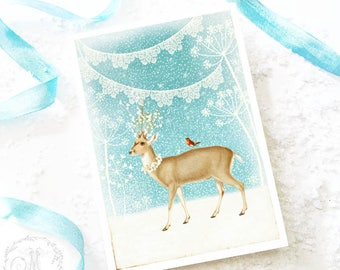 Deer Christmas card, white christmas with snow and bunting, traditional holiday card, blank card