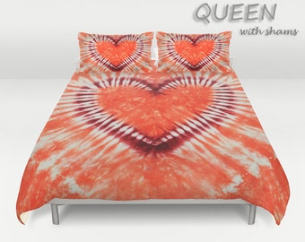 Duvet Cover-Comforter Cover-Tie Dye Bedding-Heart-Maroon Coral Orange -Blanket Cover-King Queen Full Twin