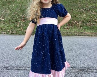 Girls Ruffle Dress - Peasant Dress - Princess Dress - Girls Navy Dress - Girls Polka Dot Dress - Boutique Dress - Flower Girl Dress
