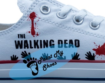 Zombie shoes, Custom shoes, Converse, hand painted shoes, tv shoes, free shipping in the US