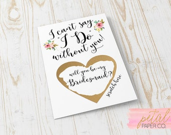 Scratch Off Will you be my Bridesmaid? Card - Maid of Honor, Matron of Honor, Bridesmaid Ask Card with Metallic Envelope