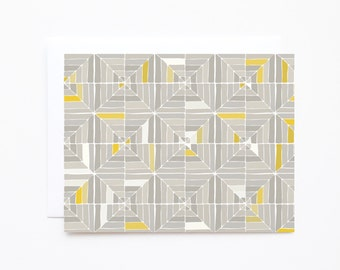 Illustrated Notecard Set of 8 | Hand Illustrated Geometric Pattern Notecards in Grey and Mustard