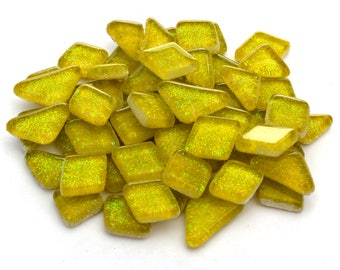 Yellow Glitter Mosaic Tile Pieces - Bulk Sparkle Mosaic Tiles - Bright Neon Chartreuse Shimmer Tile Assortment - Canary Tile
