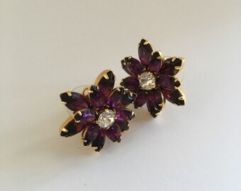 Pretty Violet/Purple Stone with Clear Rhinestones Pierced Earrings