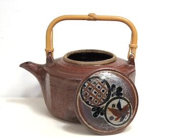 Vintage Art Pottery Teapot/ Asian Style Bamboo Handle/Earthy Studio Pottery
