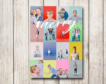 Holiday / Christmas Photo and Instagram Collage Card (Digital File or Printed Cards)