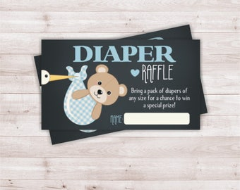 Bear baby shower diaper raffle, baby boy diaper raffle, baby shower printable, Teddy bear baby shower, Teddy bear diaper raffle.