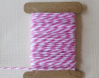 LOT 2 meter Twine Baker's twine Pink/White chevron