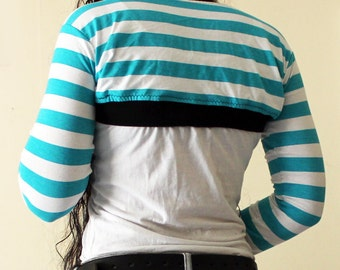 Handmade Aqua and White Striped Bolero Shrug - Full sleeves - Kezbirdie