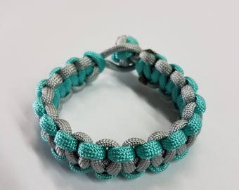 Silver and cyan paracord bracelet