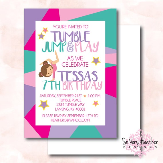 Birthday party invites so very heather designs jump and play birthday party invitation and thank you cards digital file or filmwisefo Images