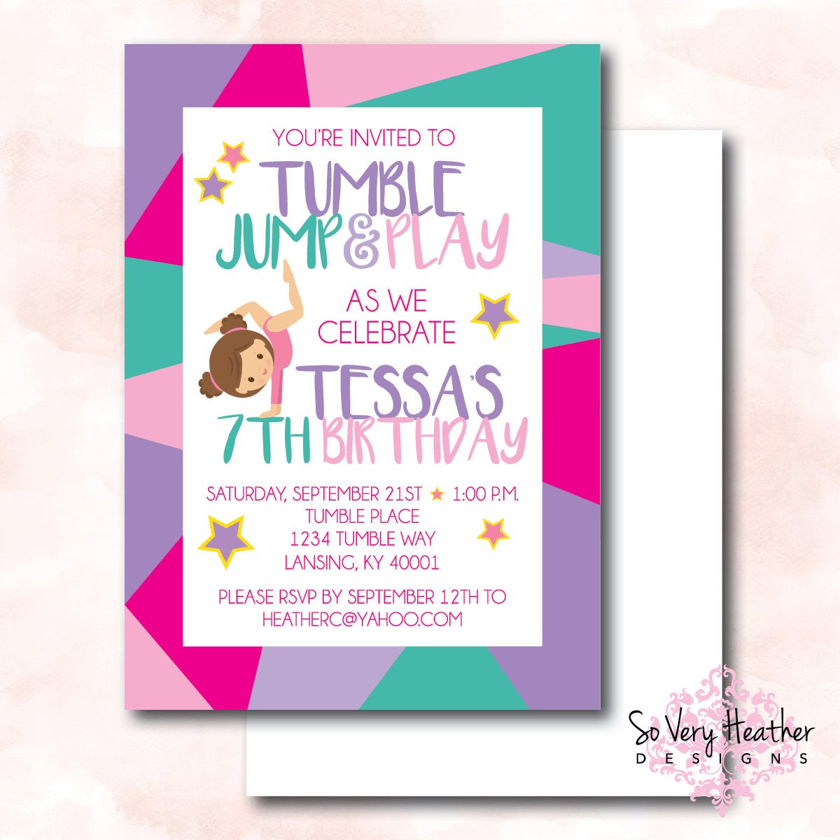 Tumble, Jump and Play Birthday Party Invitation and Thank You Cards ...