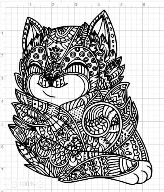 Cat Mandala Design SVG EPS DXF Studio 3 Cut File