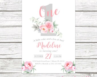 First Birthday Invitation Girl, Floral First Birthday Invitation, Number 1 One First Birthday Invite, Pink Birthday Invitation, Watercolor