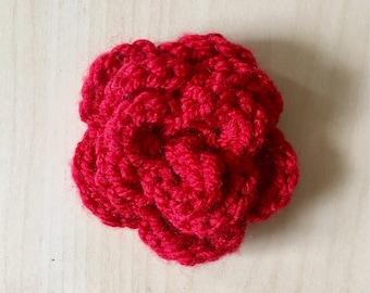 Crocheted Flower Pin // Handmade Rose Accessory