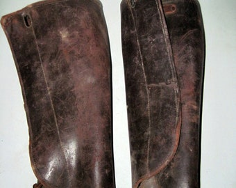 Vintage leather Military Riding spats gaiters leggins shin guards