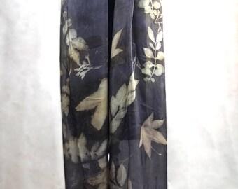 Ecoprinted silk shawl