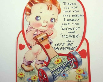 Vintage Children's Novelty Mechanical Valentine Greeting Card with Cute Boy and Old Fashioned Push Lawnmower