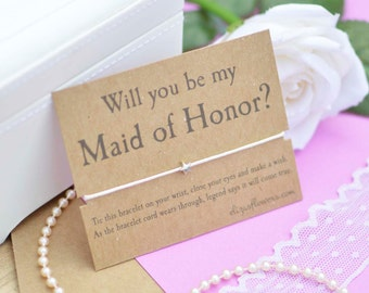 Maid of Honor Wish Bracelet, Will You Be My Maid of Honor, Bridesmaid Wish Bracelet, Maid of Honor Gift, Wish Bracelet and Gift Card