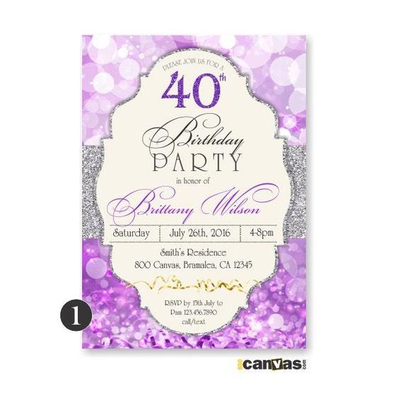 purple birthday invitation  glitter surprise party  adult