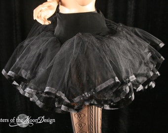 Black tutu petticoat skirt adult trimmed Halloween costume extra poofy dance petticoat bridal - You Choose Size - Sisters of the Moon