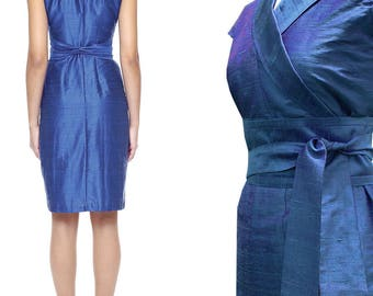 silk wrap dress in kimono style In CORNFLOWER dupioni wildsilk wedding dress bridal gown